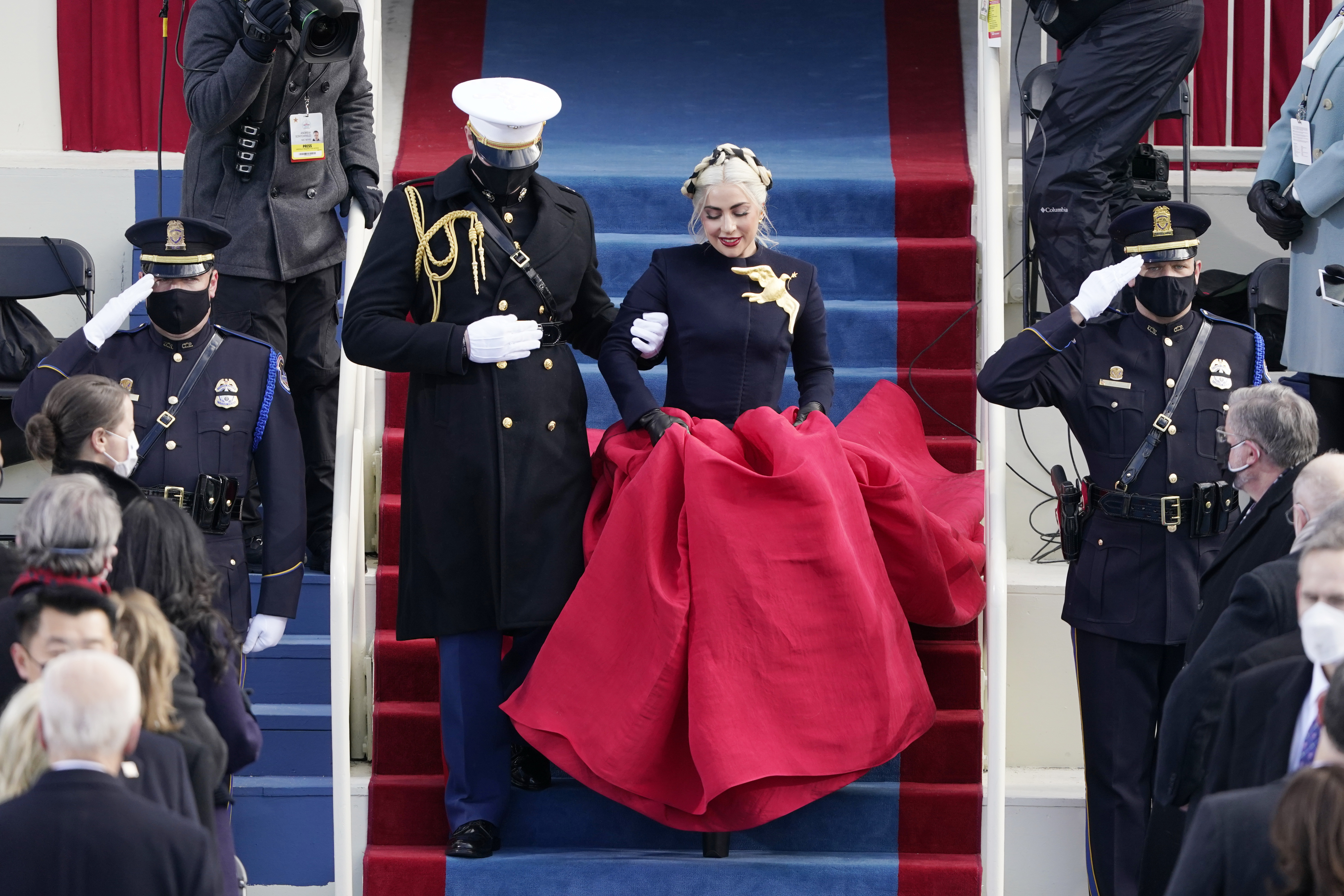 Lady Gaga arrives to sing the National Anthem during the 59th Presidential Inauguration at the U.S. Capitol in Washington, Wednesday, Jan. 20, 2021. (AP Photo/Patrick Semansky, Pool)